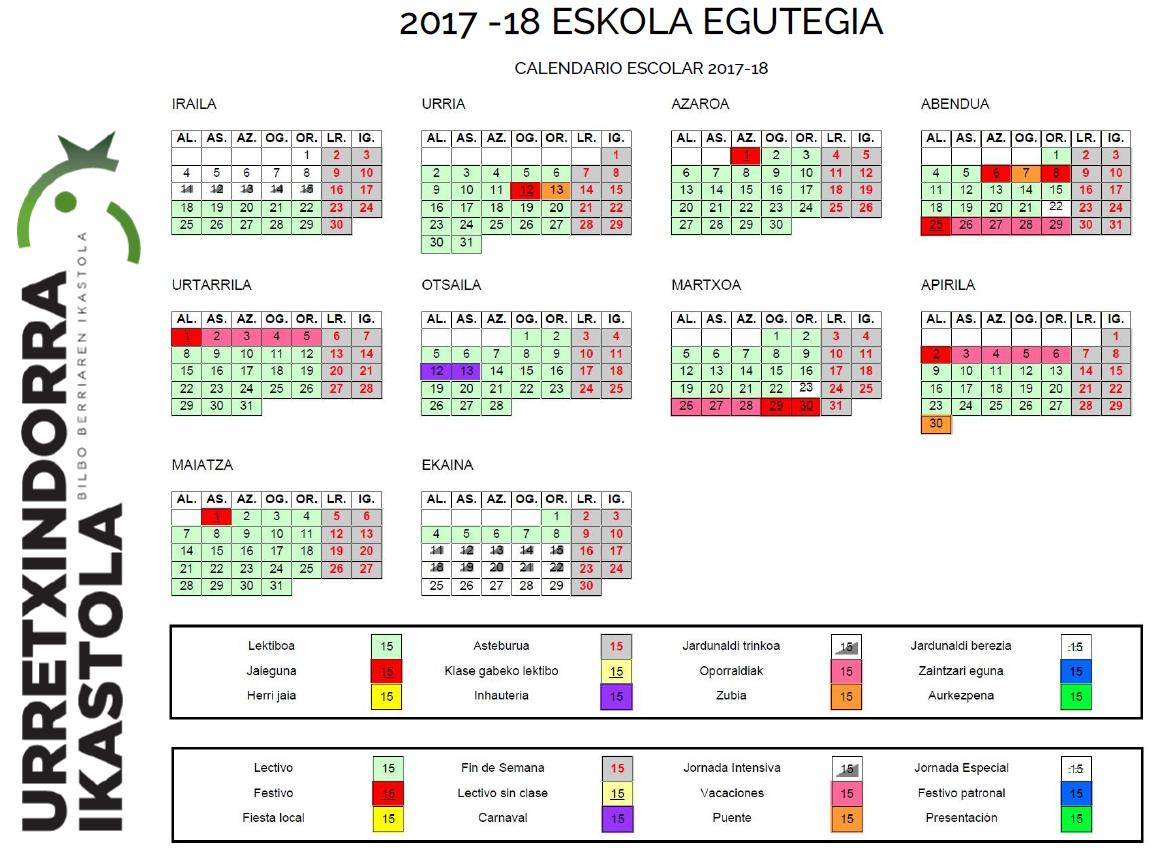 2017-18  ESKOLA  EGUTEGIA  /  CALENDARIO  ESCOLAR  2017-18